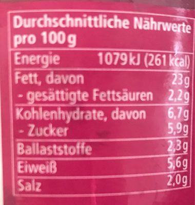 Streichcreme - Rote Beete, Meerrettich - Informations nutritionnelles - fr