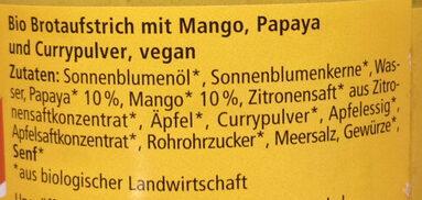 Streichcreme Curry Mango Papaya - Ingrediënten