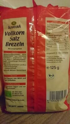 Alnatura Vollkorn Salz Brezeln - Valori nutrizionali - fr