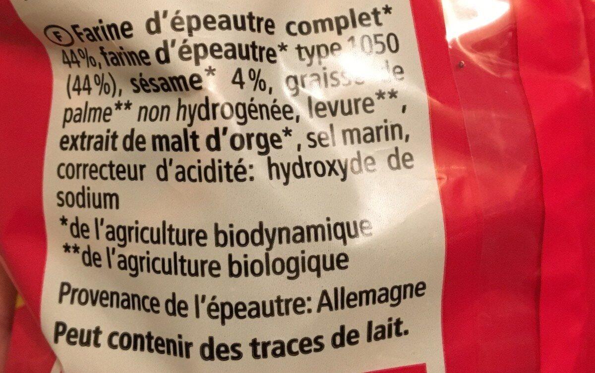 Bretzels à l'épeautre sésame - Ingredients
