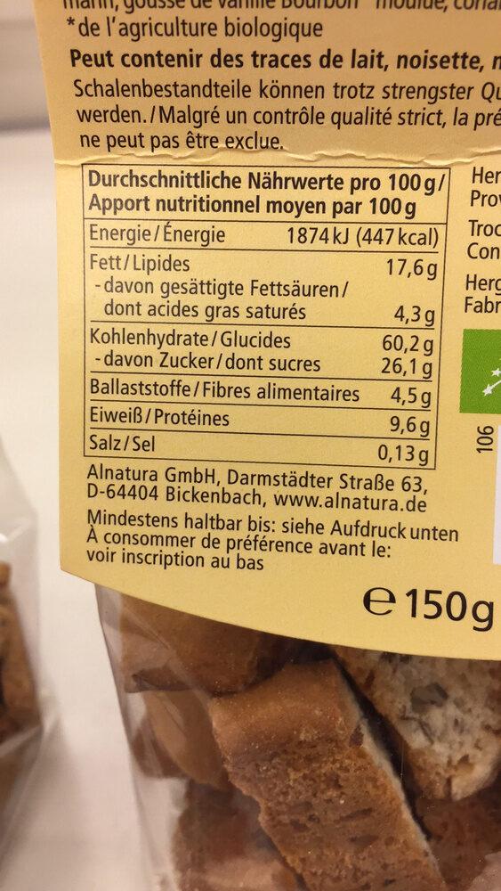Biscotti à l'épeautre, aux amandes - Nutrition facts