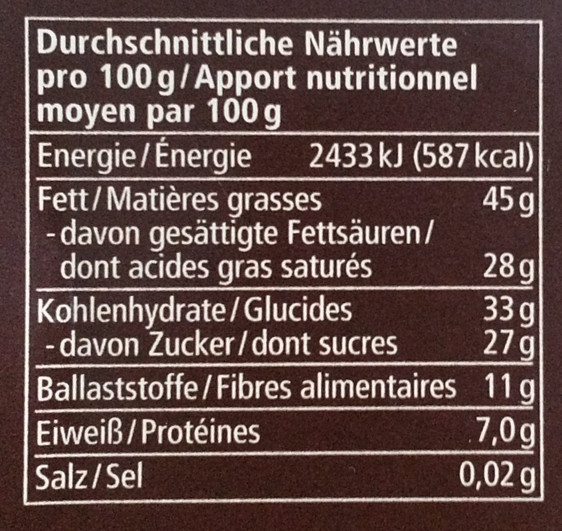 Bio Zartbitterschokolade - Informazioni nutrizionali - de