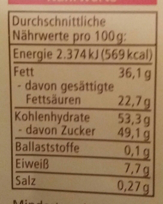 Schokolade, Weiße Crisp - Voedingswaarden