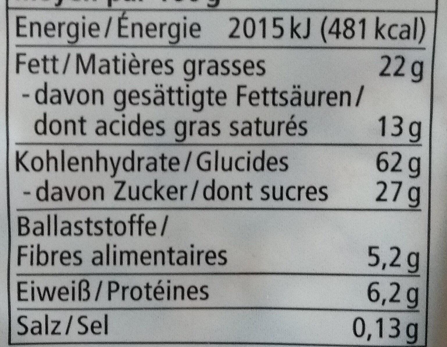 Schoko Reiswaffeln - Voedingswaarden - de