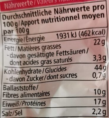 Dinkel Kräcker Sesam - Informazioni nutrizionali