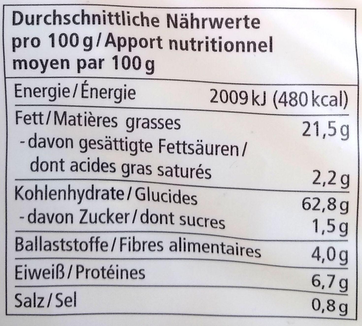 Chips de maïs - Nährwertangaben - de