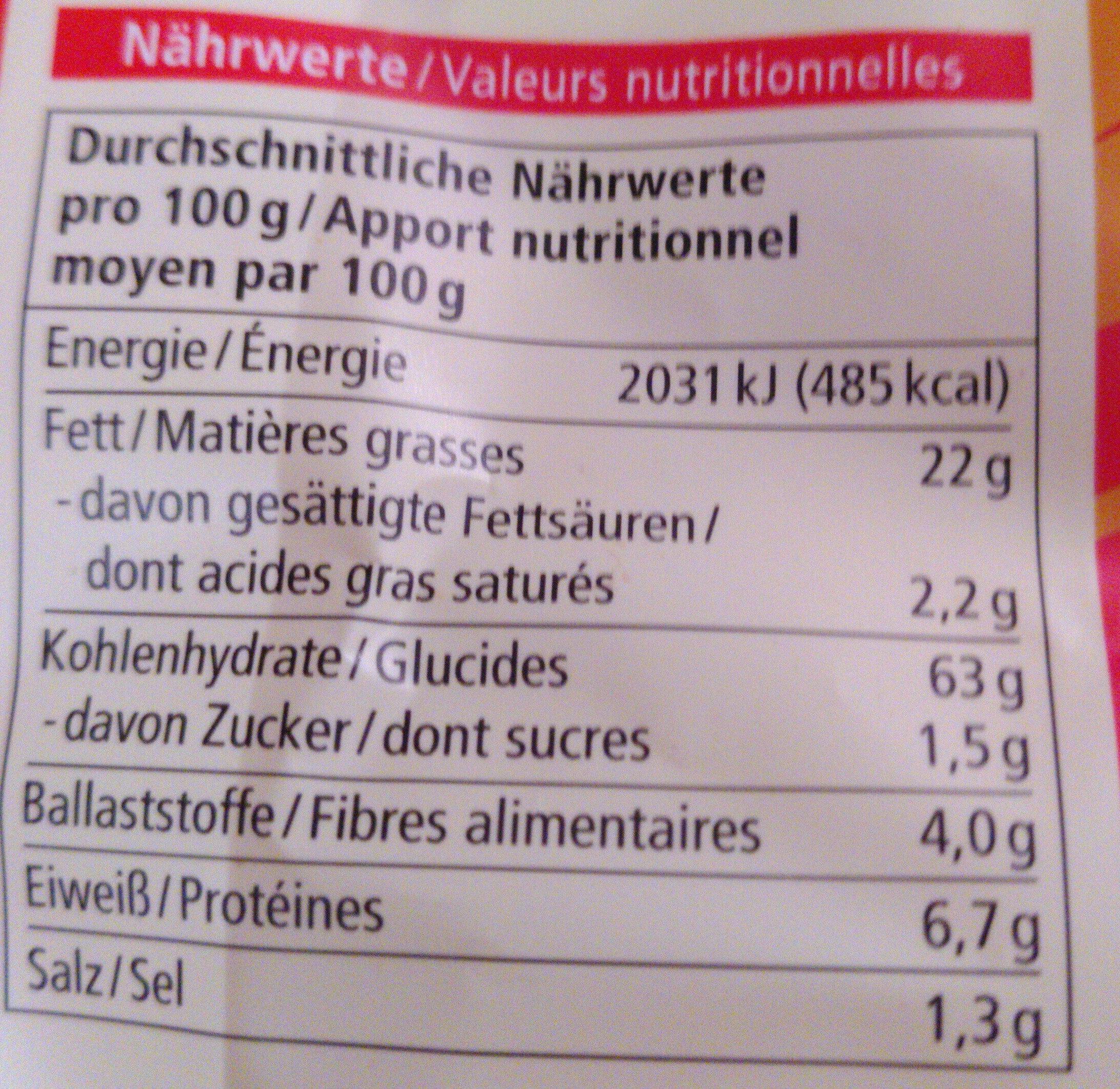 Chips de maïs paprika - Valori nutrizionali - de