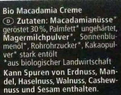 Macadamia Creme - Ingredients