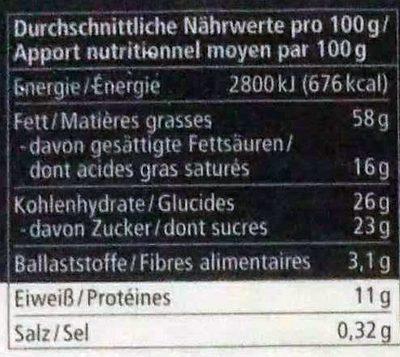 Macadamia Creme - Nutrition facts