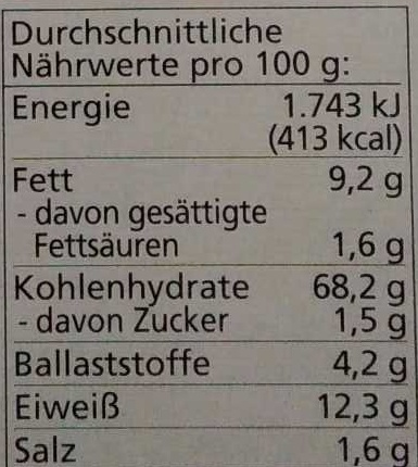 Grissini - Nutrition facts
