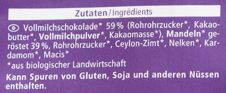 Schoko zimt mandeln - Ingrediënten