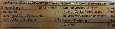 Roggenvollkornbrot mit Leinsamen - Informations nutritionnelles - de