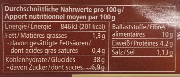 Pain de seigle complet - Informations nutritionnelles - fr