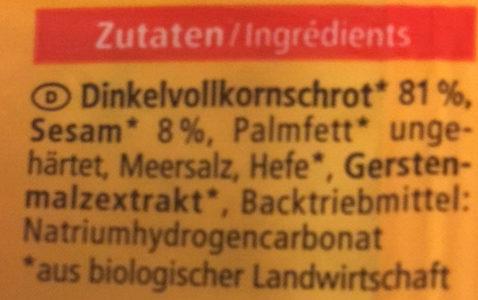 Dinkel Cracker - Ingredients - de