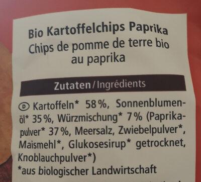 Bio Kartoffelchips Paprika - Zutaten - de