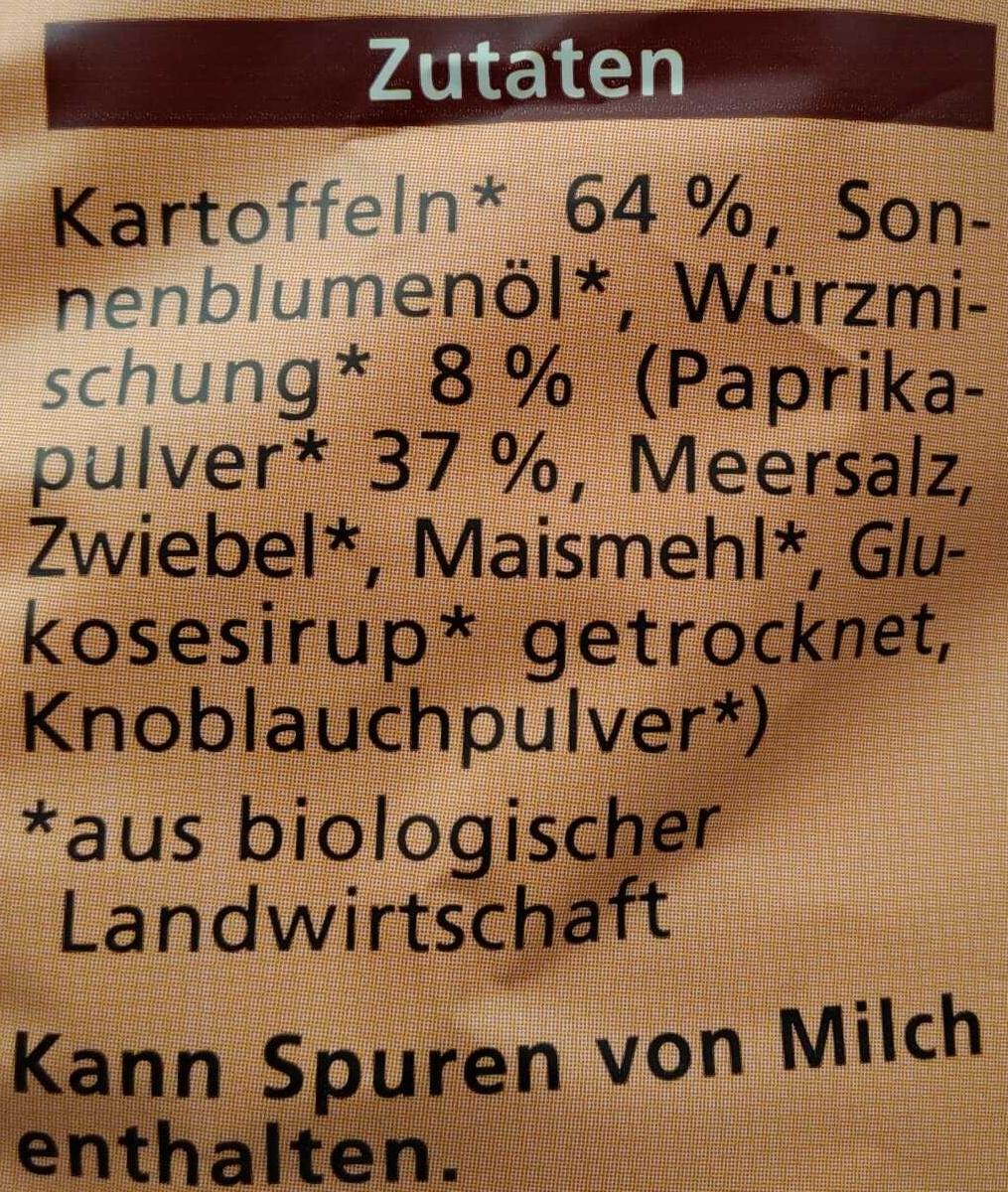 Bio Kartoffelchips Paprika - Inhaltsstoffe