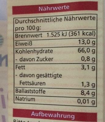 Dinkel Vollkorn Spaghetti - Informations nutritionnelles