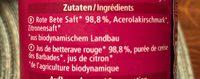 Rote Bete Saft - Ingrédients - fr
