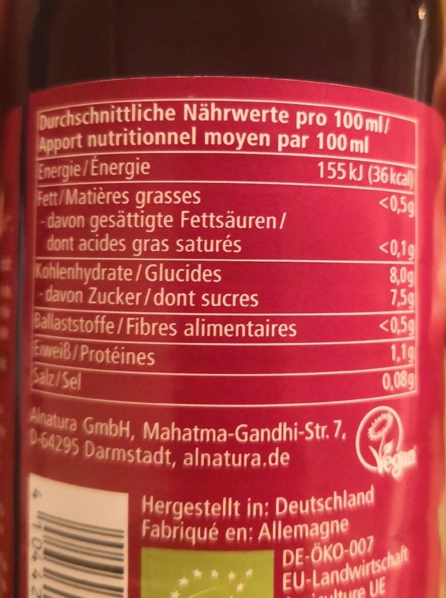Rote Bete Saft - Informations nutritionnelles - fr