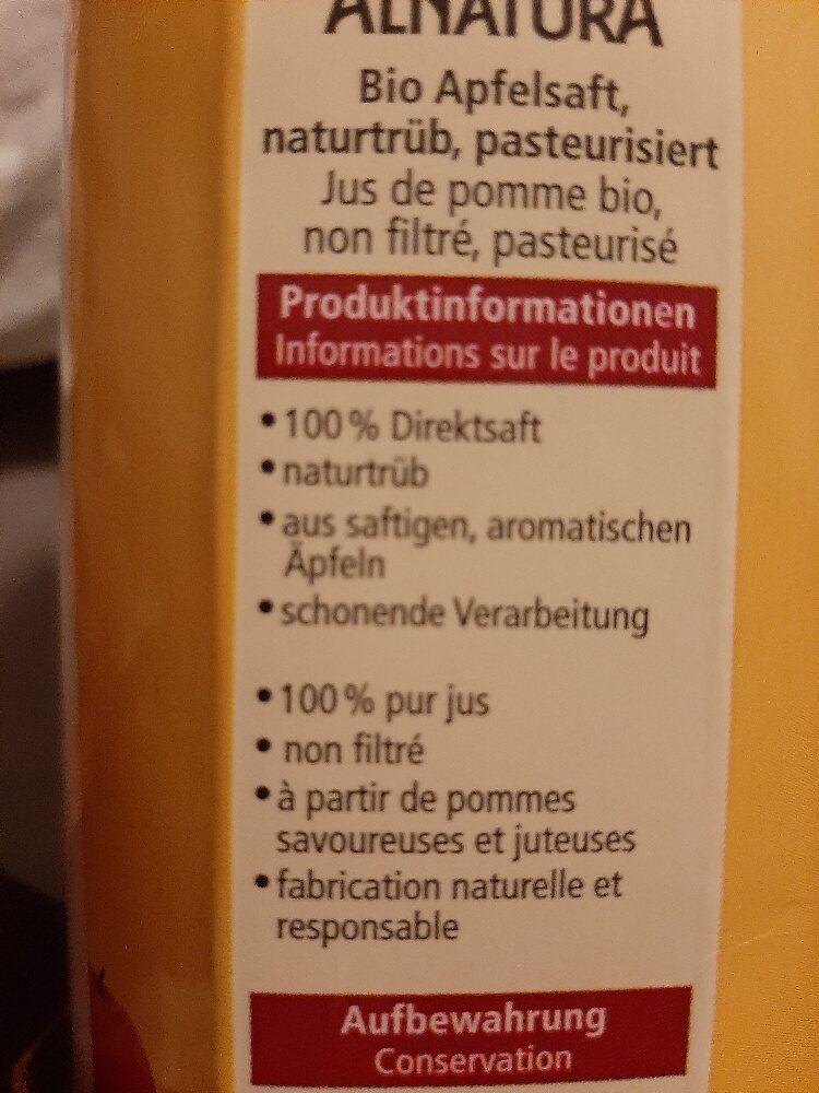 Jus de pomme bio non filtré - Ingredienti - de