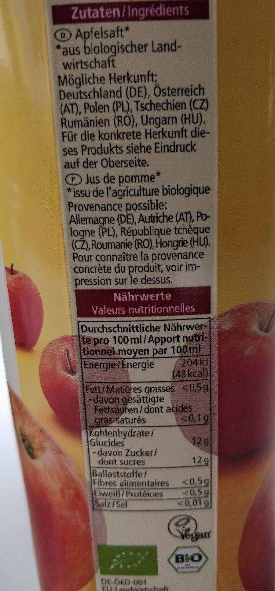 Jus de pomme bio non filtré - Valori nutrizionali - de