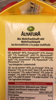 Multi Saft 100% DIREKTSAFT - Ingredients