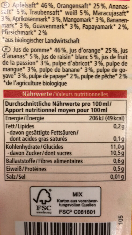 Multi Saft 100% DIREKTSAFT - Nutrition facts