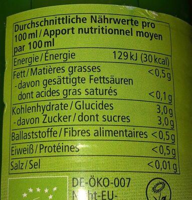 Jus de limette - Nutrition facts - fr
