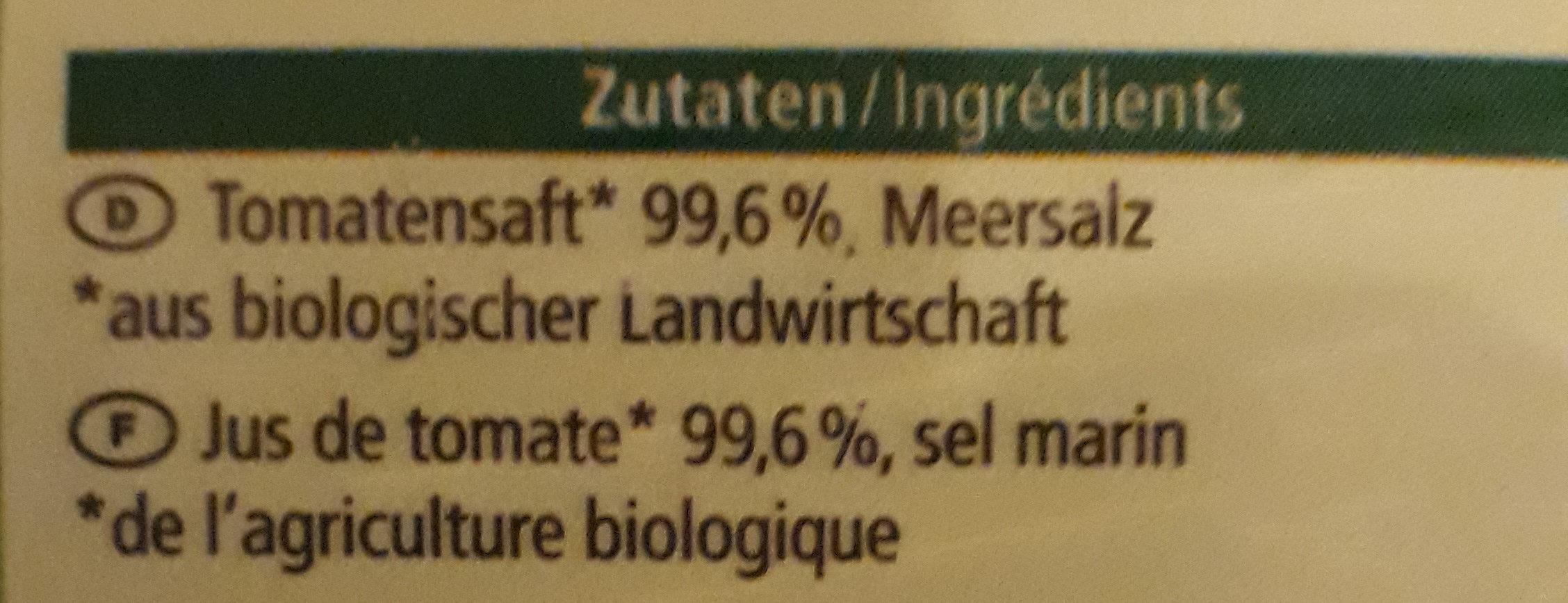 Tomaten Saft - Ingredients - fr