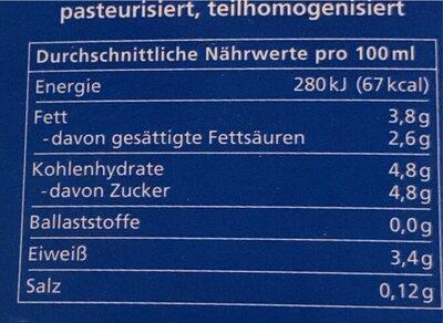 Vollmilch 3,7% - Nährwertangaben - de