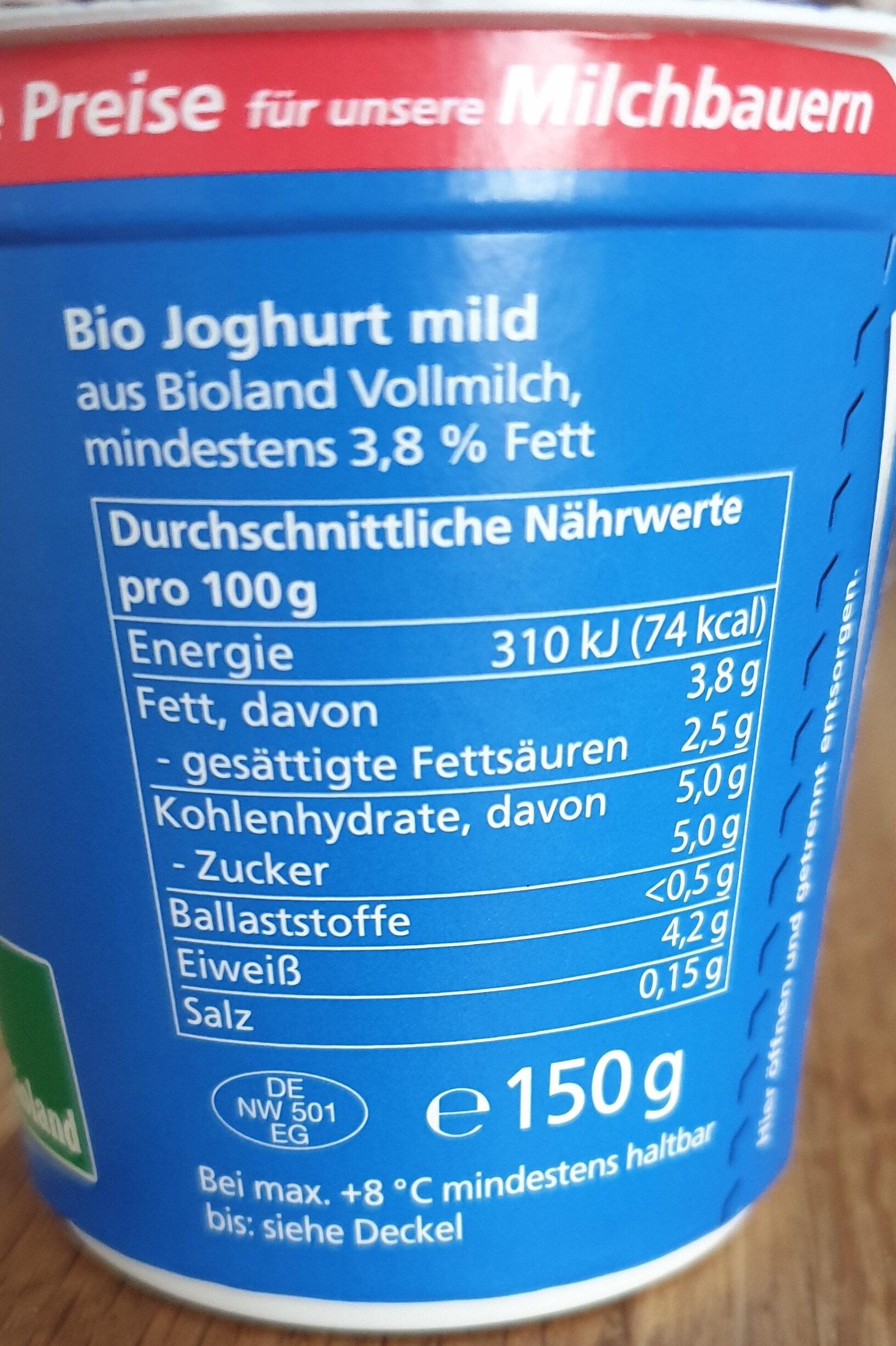 Jogurt mild 3,8 % Fett - Zutaten - de