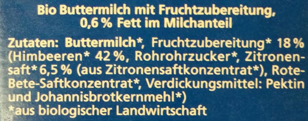 Alnatura Bio Buttermilch mit Fruchtzubereitung, 0,6% Fett im Milchanteil - Ingredients - de