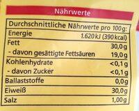 Emmentaler (bio) Gerieben - Nährwertangaben - de
