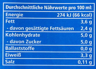 Alpen Milch haltbar 3,5% Fett - Nährwertangaben - de