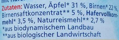 Birne mit Apfel und Hafer - Inhaltsstoffe