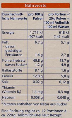 Hafer Getreidebrei - Nutrition facts - de