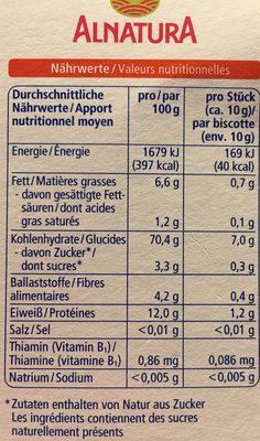 Alnatura - Baby Dinkel Zwieback - Voedingswaarden