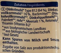 Mini Dinkel Stangen - Ingredients