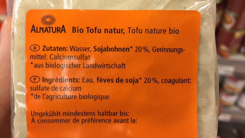 Tofu natur - Zutaten - de