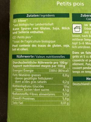 Junge Erbsen - Nutrition facts