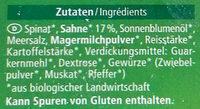 Rahm Spinat mit Sahne verfeinert - Inhaltsstoffe