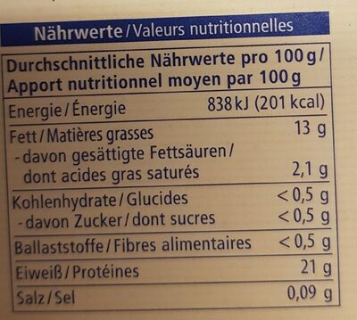 Lachs filets - Nutrition facts - fr