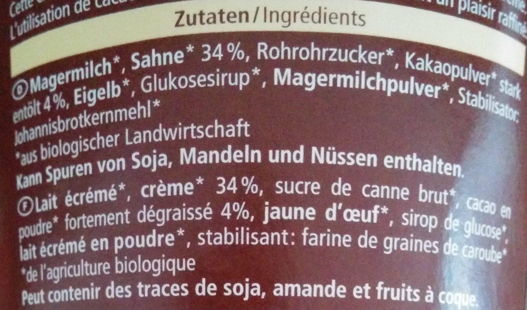 Crème glacée au chocolat - Ingredients