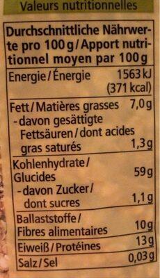 Haferflocken - Feinblatt - Nutrition facts