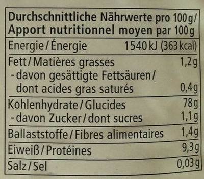 Basmati rice - Informations nutritionnelles