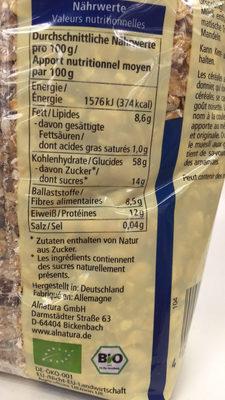 Muesli aux grains anciens - Información nutricional - fr