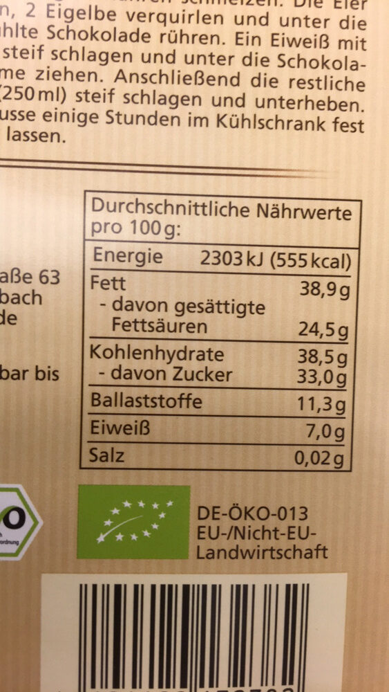 Chocolat 64% Cacao - Nutrition facts