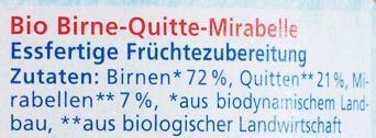Birne-Quitte-Mirabelle - Ingrédients - de