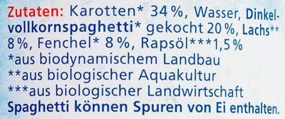 Karotten, Fenchel mit Dinkelspaghetti und Lachs - Ingrédients - de
