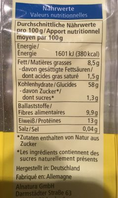 Basis Porridge - Informations nutritionnelles - fr